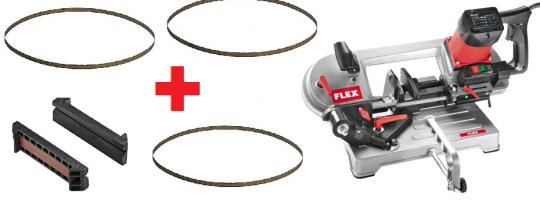Flex SBG 4910 Metall-Bandsäge + 3 Sägebänder + Spannbacken